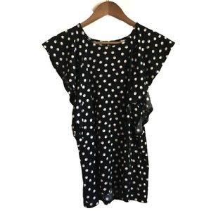 Elle Womens Black and Pink Polkadot Blouse Size S